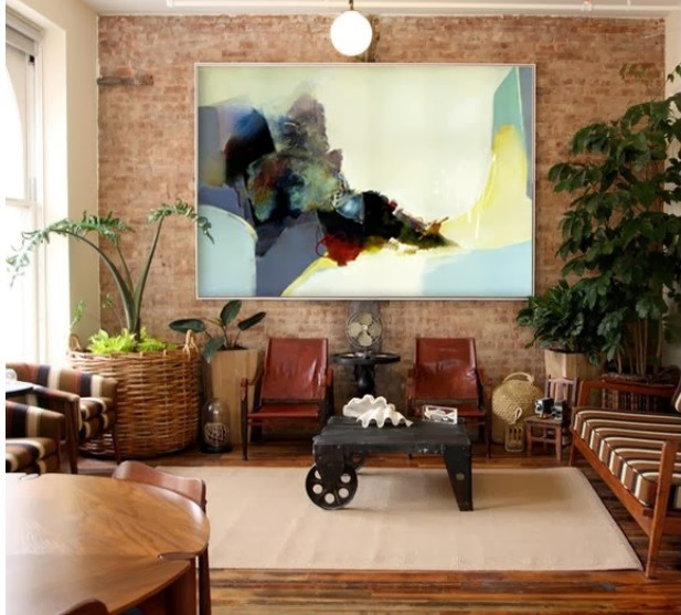 quadro grande sala rustica